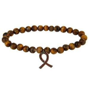 Spessartite Garnet Sterling Silver Ribbon Awareness Charm Tiger Eye Bracelet