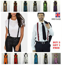 Unisex Adjustable BRACES SUSPENDERS Slim Trouser Y Clip On Fancy Dress Mens B3