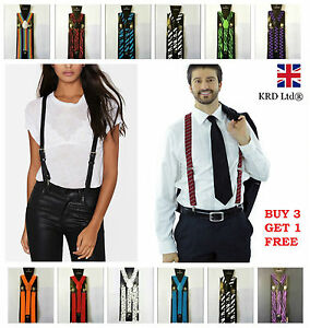 Unisex Adjustable BRACES SUSPENDERS Slim Trouser Y Clip On Fancy Dress Mens B3