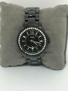 Fossil CE1054 Women Black Stainless Steel Analog Dial Quartz Genuine Watch Bb688