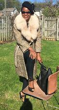 Designer vtg patterned full pelt Shadow Fox Fur trim Jacket, Coat stroller 0-6