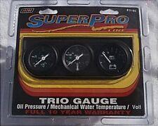 Super Pro #5195 Triple Gauge Set New Oil, Water, Volt  1 and 1/2 Inch Gauges