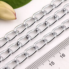 1M Silver Plated Twisted Rings Aluminum Chains Crafts Jewelry Findings 12x7mm