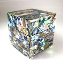 Ring Box Genuine Abalone Paua Shell with Swarovski Crystals Exquisitely Handmade