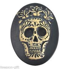 10Pcs Resin Black Oval Punk Flowers Skull Dome Cameo Cabochon 3.8x2.9cm
