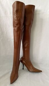 Tan Italian Leather Vincini designed by Giuseppe Zanotti OTK boots EU 36 NEW