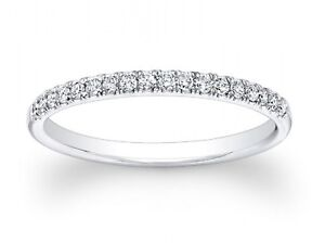 0.75ct Round Cut Stackable Bridal Wedding Petite Anniversary Band 14k White Gold