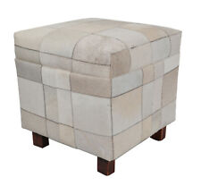 Indian Handmade Designer  Pure genuine Leather With Wooden Legs Pouf cum Stool