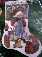 Christmas Bucilla Counted Cross Stocking KIT,BLUE JEAN TEDDY & FRIENDS,84901,18""