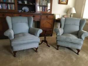 Pair of wing armchairs, newly re-upholstered