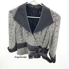 Tadashi Collection Sequin Faux Wrap Top Silver Black EUC Size 10