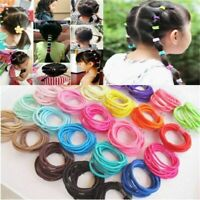 Lots 100Pcs Kids Girls Macaron Color Elastic Hair Ties Ponytail Holder Hairbands