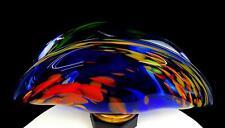"STUDIO ART GLASS BLUE AND ORANGE MOTTLED FOLDED 14"" FOOTED BOWL"