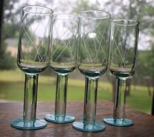 """Set of 4  8.5"""" tall etched stem glasses w/ teal bases; MOD 50's 60's 70's UNIQUE"""