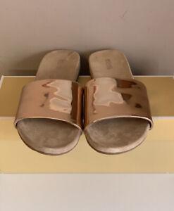 Michael Kors Duke Slide Mirror Metallic Sandals New In Box UK Size 5