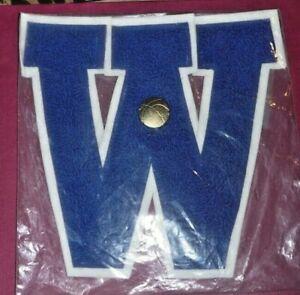 "VINTAGE LETTER MAN CLOTH EMBLEMS PATCH ""W"" BLUE LARGE W/ BASKETBALL PIN"