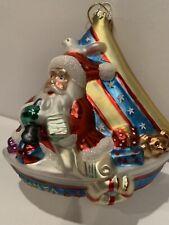 Glass Christmas Santa on Sailboat Ornament Beautiful!