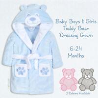Baby Boys Blue Star Hooded Supersoft Bathrobe Boys Soft Dressing Gown 6-24mth