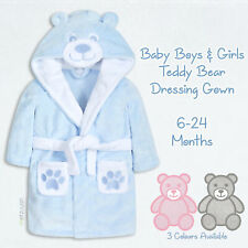 Baby Girls Boys Dressing Gown Teddy Bear Robe Novelty Plush Fleece Unisex Ted UK