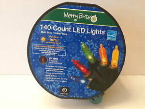 Merry Brite 140 Count Led Lights Multi Bulb/green Wire New Never Used