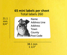 Miniature Schnauzer 260 PERSONALIZZATO DOG Indirizzo Etichette Adesivi