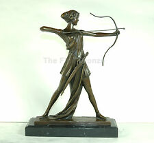 Bronze Sculpture Lady w/bow Worrier Diana The Huntress Statue, Signed: Preiss