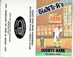 1970 San Francisco Giants & Oakland A's Pocket Schedule MINT