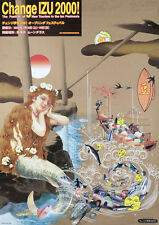 Original Vintage Poster Tadanori Yokoo Change IZU 2000 Mermaid Japanese Pop Art