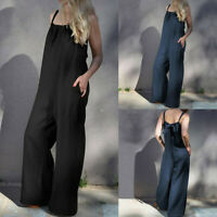 Summer Women Sleeveless Loose Wide Leg Bib Pants Jumpsuit Romper Playsuit Plus