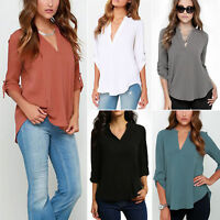 New Women Tops Long Sleeve Loose Deep V Neck Chiffon Blouse Shirts Solid Casual