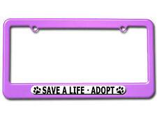 save a life adopt pet cat dog license plate tag frame colors - Dog License Plate Frames