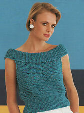 Knitting Pattern Lady's Summer Off-Shoulder Top/Jumper. 30 to 38 Inch Bust.