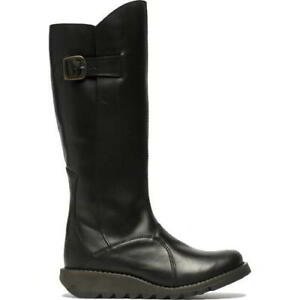 Fly London Mol 2 Womens Ladies Leather Zip Up Knee High Wedge Boots Size UK 4-8