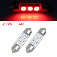 2pcs Red 36mm 5050 SMD 3 LED 0.5W Festoon Dome Car Light Interior Lamp Bulb