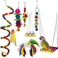 7Pcs Beaks Metal Rope Small Parrot Budgie Cockatiel Cage Bird Toys New G9Z