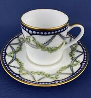 Tiffany & Co Federal Flat Demitasse Cup & Saucer Set Made in France Blue Green