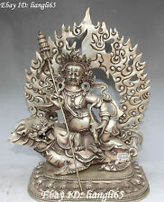 "13""Chinese Silver Vaishravana On Lion Protector Deity Ride Lion Beast Statue"