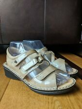 FINN COMFORT Womens Beige Patent Leather Velcro Strappy Sandals SIZE UK 3.5 US 6
