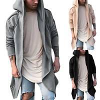 Mens Autumn Hooded Coat Hoodie Long Cardigan Jacket Loose Long Sleeve Outerwear