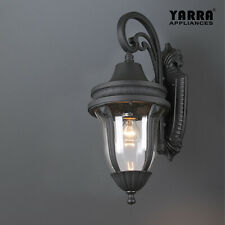 Antique Outdoor Wall Light Hammered Glass Matt Black E27 Classic Lantern Large