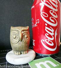 BRASS owl vtg marble alabaster base paperweight trophy bird letter holder small