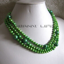 52 Inches 3-12mm Green Graduated Freshwater Pearl Strand Necklace Cultured