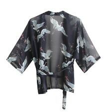 Ladies Cardigan Japanese Kimono Chiffon Summer Sunscreen Jacket Top Crane Blouse