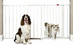 """Walk-Thru Pet Baby Dog Gate 51"""" to 58"""""""" Wide Long Safety Big Strong White New"""