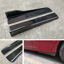 1X Schwarz Auto Seiten Rock Rocker Splitter Winglet Carbon Fiber Look Anti-Kratz