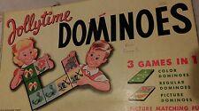 MILTON BRADLEY VINTAGE 1955 JOLLYTIME DOMINOES GAME RARE HTF