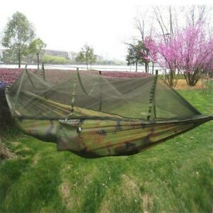 Camouflage Travel Outdoor Hammock Camping Swing Hanging Bed With Mosquito Net UK