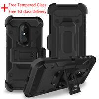 For T-mobile Revvl 2 PlusShockproof Armor Clip Holster Case Cover+Tempered Glass