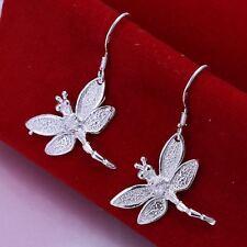 beautiful Fashion Silver earrings women crystal Dragonfly Earring jewelry 925