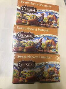 Lot Of 3 Celestial Seasonings Sweet Harvest Pumpkin Black Tea 20 ct Ea Ex 09/22